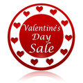 Valentines day sale red circle banner with hearts symbols Stock Photos