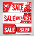 Valentines day sale vector banners with different designs