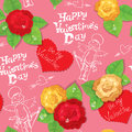 Valentines Day seamless pattern with hand drawn an