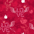 Valentines day seamless pattern with hand drawn he hearts keys and birds on red background Stock Photos
