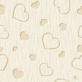 Valentines day seamless pattern with hearts carved on a wooden background. Vector illustration.