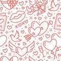 Valentines day seamless pattern. Love, romance flat line icons - hearts, chocolate, kiss, Cupid, doves, valentine card Royalty Free Stock Photo