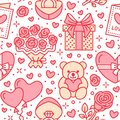 Valentines day seamless pattern. Love, romance flat line icons - hearts, chocolate, teddy bear, engagement ring