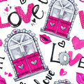 Valentines Day seamless pattern. Watercolor windows frame, love words, hearts, lips.