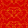 Valentines day seamless texture of gold hearts red background vector Royalty Free Stock Photo