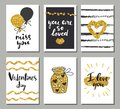 Valentines day set cards. Calligraphy, lettering and golden hand drawn design elements
