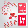 Valentines day set of hearts and stamps theme Royalty Free Stock Images