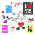 Valentines day set of hearts and stamps theme Stock Photography