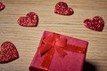 Valentines day small gift with red heart Royalty Free Stock Photo