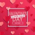 Valentines day super sale background.