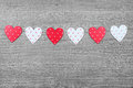Valentines day symbols hearts on vintage wooden background as symbol Royalty Free Stock Photography