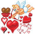 Valentines day themed pixel art icons hearts and heart shapes of various styles and sizes as well as a cute cartoon cupid drawing Stock Photos
