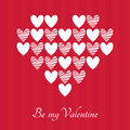 Valentines day vector greeting card be my valentine heart shape made of white hearts on red striped background with lettering Stock Images