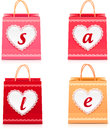Valentines day vector lacy shopping bag sale set Stock Image