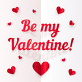 Valentines day vector paper greeting card realistic Royalty Free Stock Images
