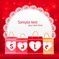 Valentines day vector shopping bag lacy card Stock Images