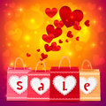 Valentines day vector shopping bags greeting card Royalty Free Stock Photo