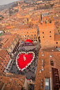 Valentines day in verona celebration of view of piazza dei signori from torre dei lamberti market the shape of a heart Stock Images