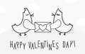 Valentines day vintage background with love birds, message and heart. Royalty Free Stock Photo
