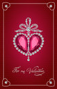 Valentines day vintage card with brilliant heart. Royalty Free Stock Photo