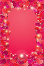 Valentines day or wedding background with red hear hearts confetti vertical holidays frame Stock Image