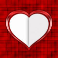 Valentines day white heart on red background patterned Stock Photos
