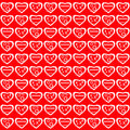 Valentines day white hearts with varying patterns against a bright red background Stock Photography