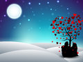 Valentines Day winter background with sitting couple silhouette Royalty Free Stock Image