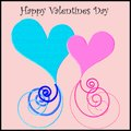 Two combined hearts with ribbon art and Valentines day wish Royalty Free Stock Photo