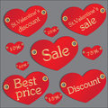 Valentines discount set of stickers counters banners for sale and a in a Royalty Free Stock Photography