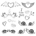Valentines doodles vector set of st valentine day related Royalty Free Stock Image