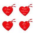 Valentines gift tags a set of four heart shaped with messages Stock Photos