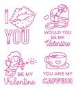 Valentines greeting badge in thin line style vector illustration