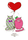 Valentines greeting card with pair of cats funny fat lovers and heart balloon Stock Photography