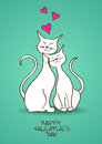 Valentines greeting card with pair of cats lovers white Stock Photo