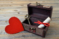 Valentines heart, love letter and key in treasure chest Royalty Free Stock Photo
