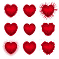 Valentines hearts set illustration of red for day Stock Photos