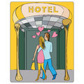 Valentines at the hotel door day or honeymoon card hand drawn cartoon illustration of two lovers seen from back entering in a Stock Photo