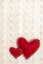 Valentines on knitted texture Stock Image