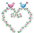 Valentines love birds with floral heart Royalty Free Stock Photo
