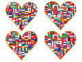 Valentines made of flags icons set Stock Photography