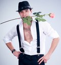 Valentines man with rose in hat Royalty Free Stock Photography