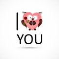 Valentines owl love you card Stock Photos