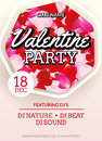 Valentines Party poster flyer design. Vector february disco club event celebration.