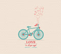 Valentines poster with balloons bicycle card Royalty Free Stock Photo