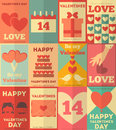 Valentines posters collection retro vintage flat design illustration Royalty Free Stock Images