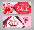 Valentines Sale with Pink and Red Hearts Promotional Banners Set