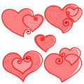 Valentines set pattern hearts Royalty Free Stock Photos