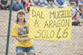 Valentino rossi supporter s hang a banner in pelouse of alcañiz circuit spain on september th yamaha factory racing rider Stock Images