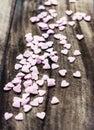 Valentinsgruß tageshintergrund mit herzen liebeskonzept sugar heart Stockfoto